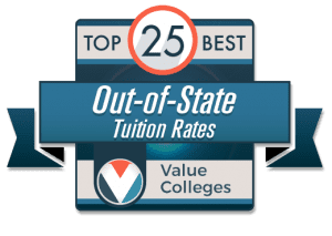 Badge - Top 25 Best Out-of-State Tuition Rates - Value Colleges