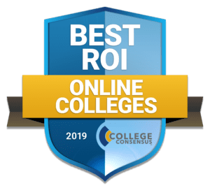 Badge - Best ROI Online Colleges - College Consensus 2019