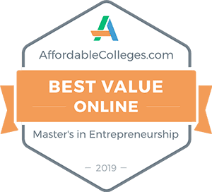 Badge - Best Value Online Masters in Entrepreneurship - AffordbaleColleges.com 2019