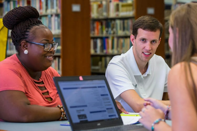 Athens State students at the library